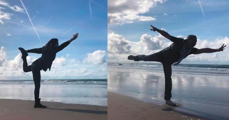 連詠心與馬塞爾去年9月19日同時更換同一姿勢的剪影照當臉書封面,低調放閃傳情,圖為荷蘭贊德沃特海邊。(翻攝自連詠心、Marcel臉書)