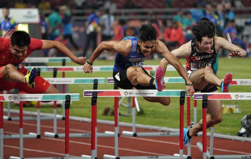 陳奎儒在本屆亞運男子110公尺跨欄決賽中,奔出台灣睽違亞運20年的徑賽獎牌。(中華奧會提供)