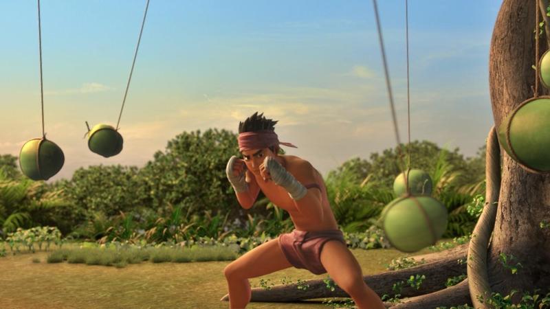 《暹羅訣:九神戰甲》製作團隊參考泰拳訓練師的示範和各類泰拳視頻影片,據以繪製泰拳少年奧特的訓練過程,如在樹上掛滿椰子做閃躲訓練。(双喜電影提供)