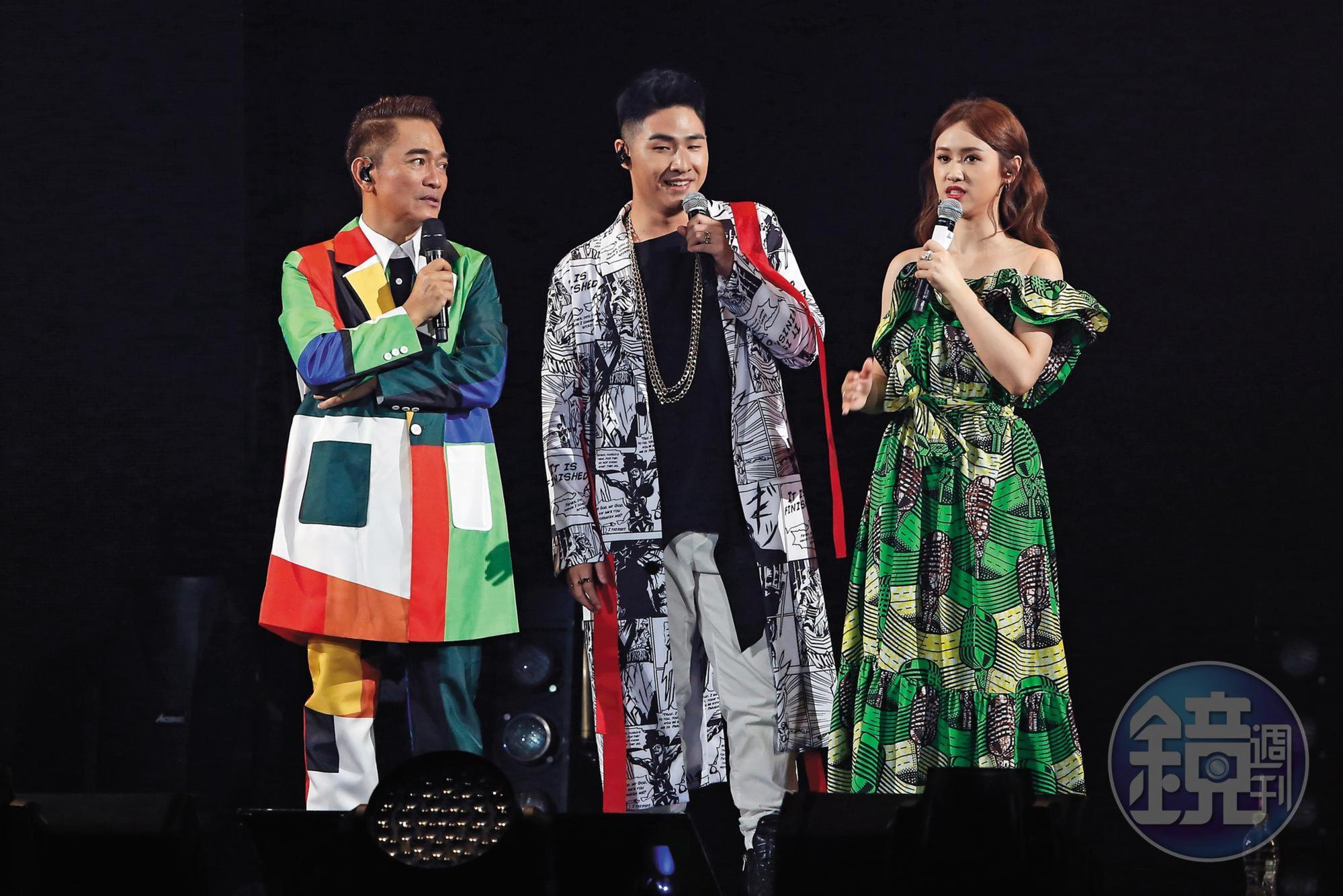 吳宗憲(左起)、鹿希派、吳姍儒一家3口,在娛樂圈發展,成績不錯。