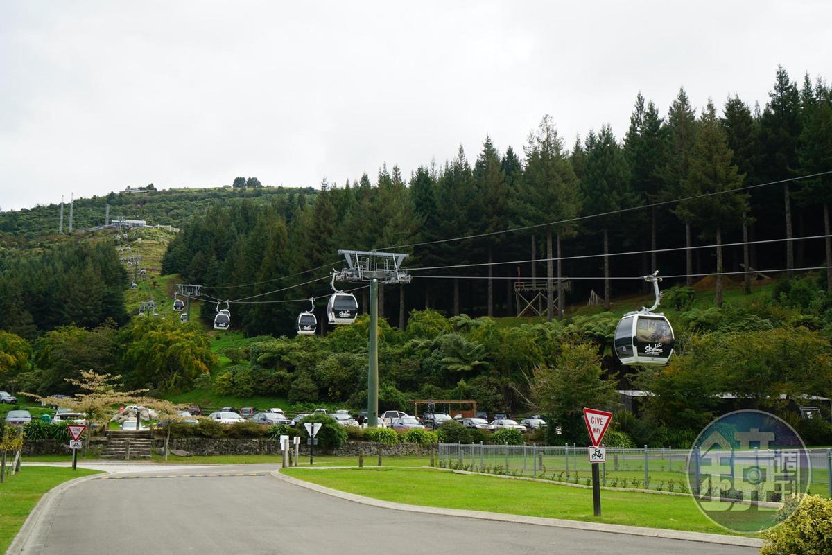 搭乘空中纜車,可以登上Rotorua的制高點Ngongotaha Mountain。