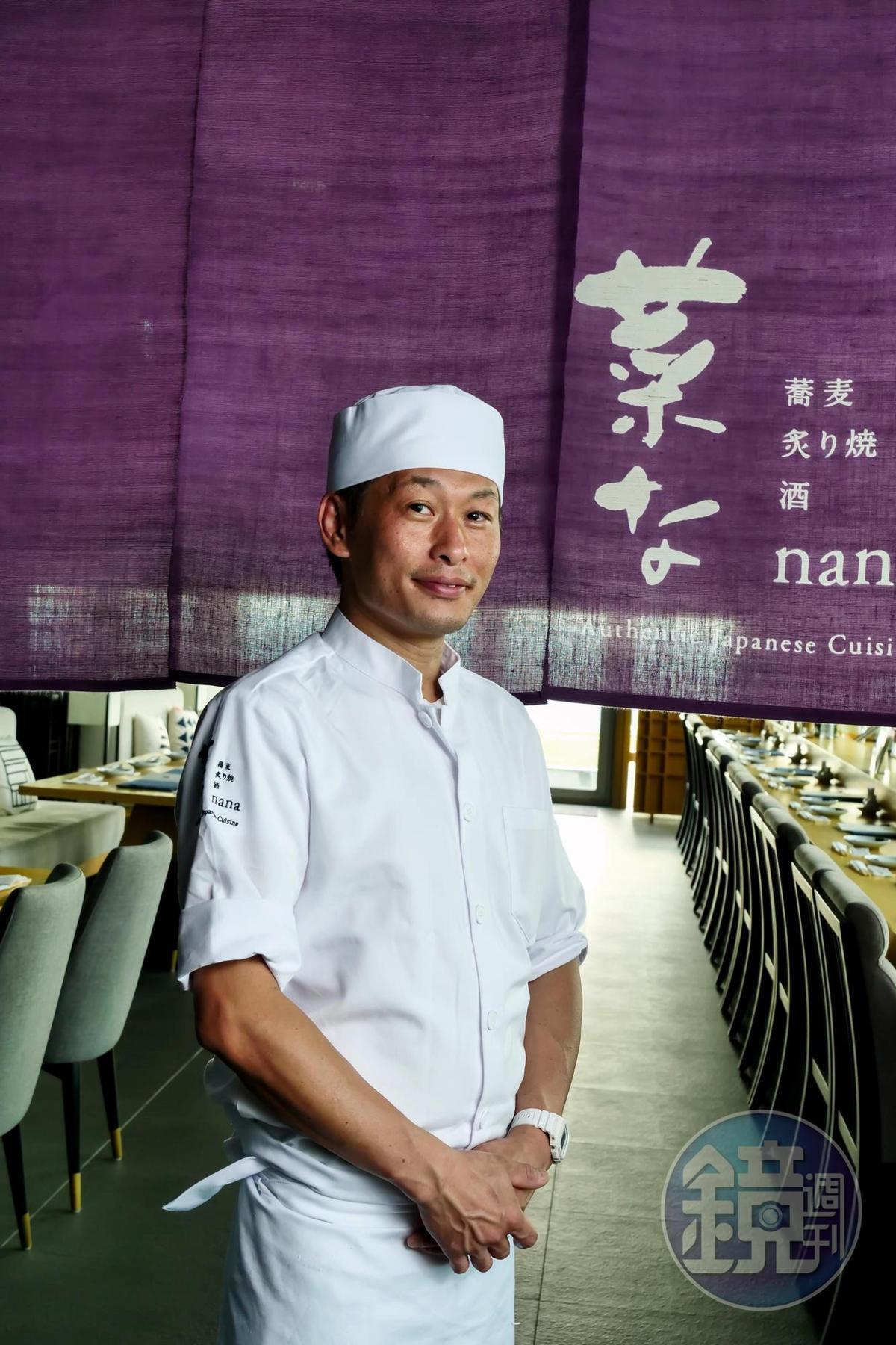 菜な日籍駐店料理長佐京健太郎嫻熟日本料理技巧。