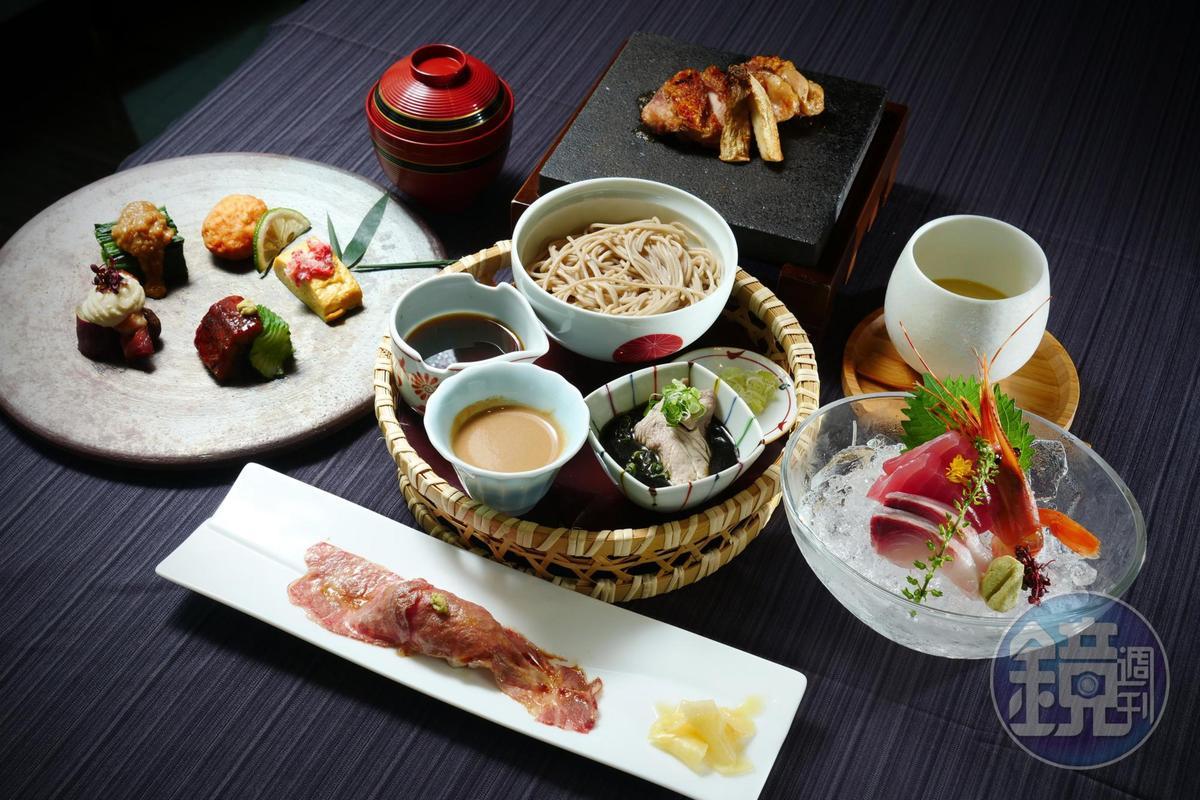 「蕎麥宴席套餐」可一次嘗到菜な料理的菁華。(1,800元/份)