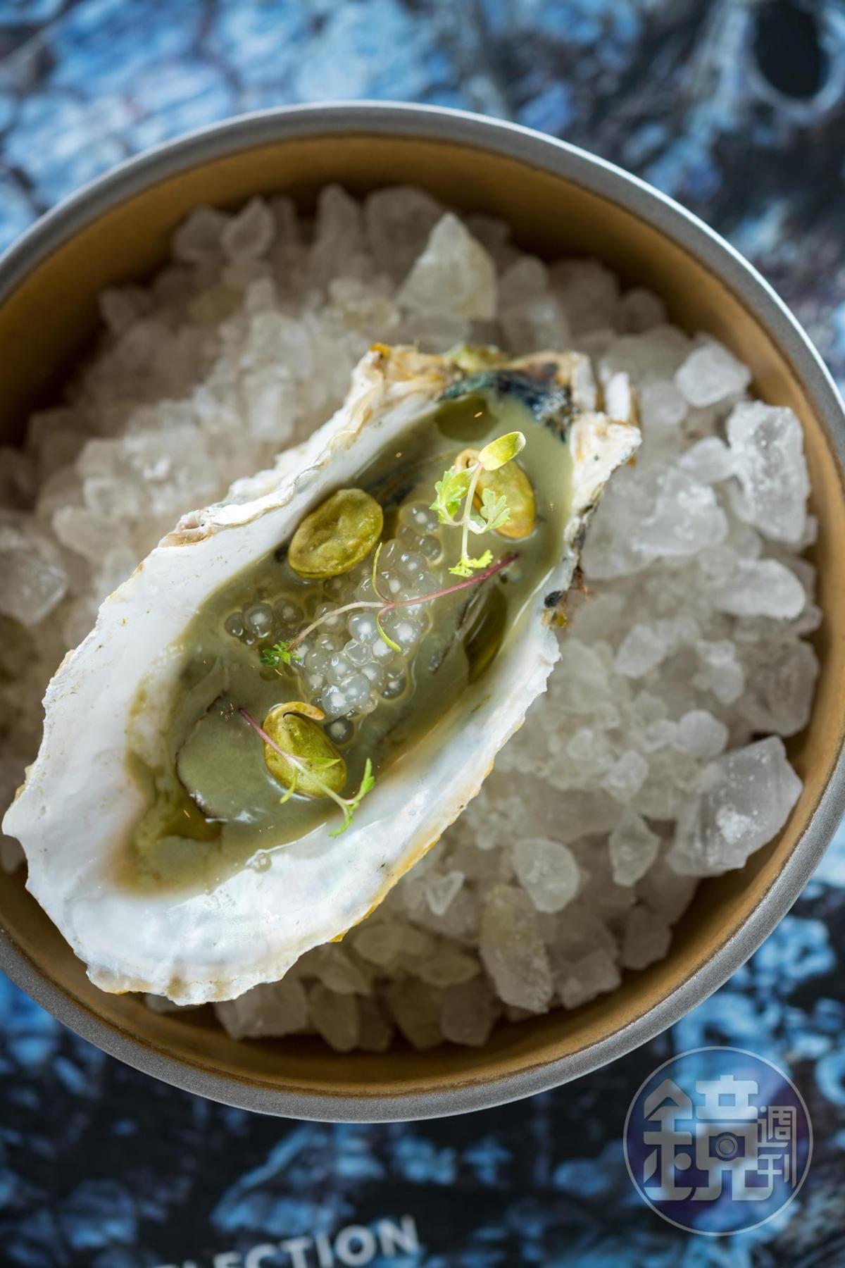 西谷米吸浸魚露、綠咖哩的「澎湖牡蠣 椰奶 毛豆檸檬草 綠咖哩」南洋味濃厚。(2,200元套餐菜色)