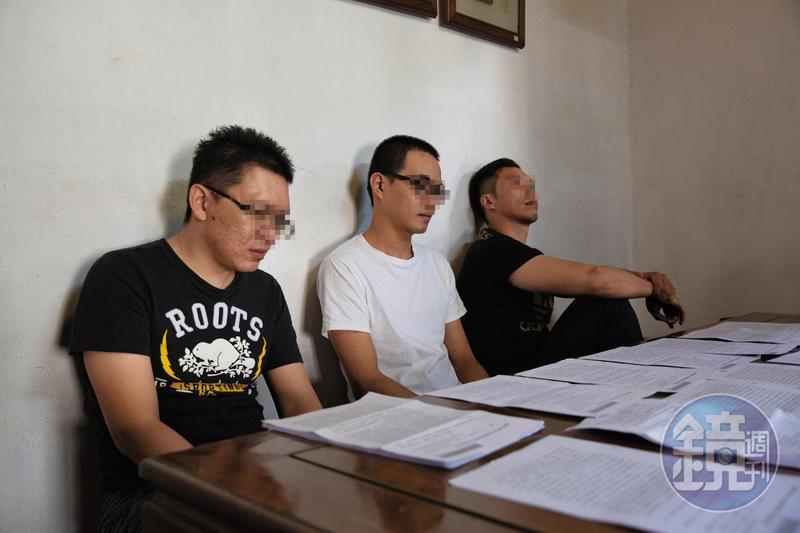任職港區企業社的阿銘(左)、小迪(中)和友人,是無端捲入幫助詐欺的受害者。