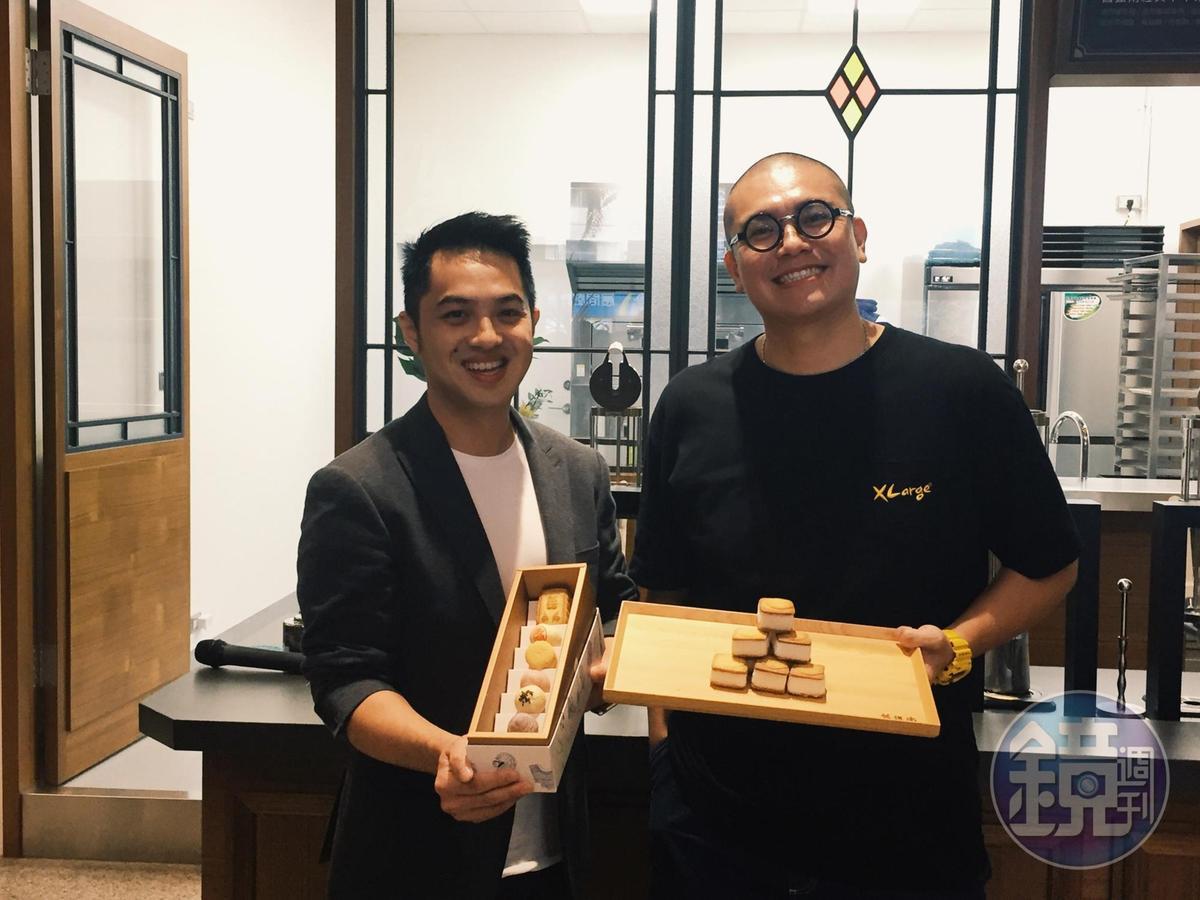 「舊振南」營運長李立元(左)與「蜷尾家」老闆李豫(右)強強聯手,漢餅結合雪酪,研發出限定雪餅口味。