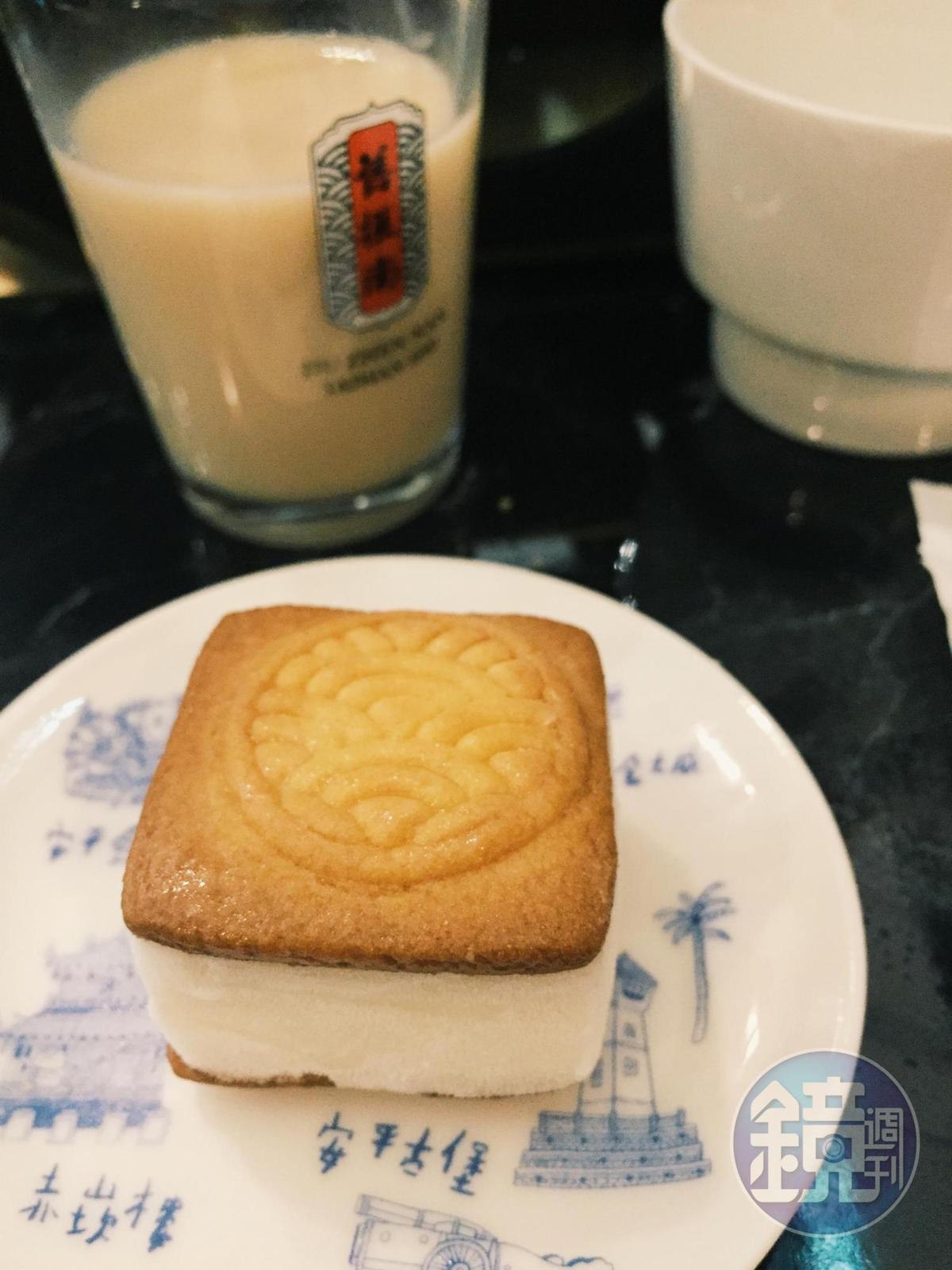 餅皮印上舊振南家徽圖案,包夾桂花荔枝雪酪,吃來沁爽不膩。