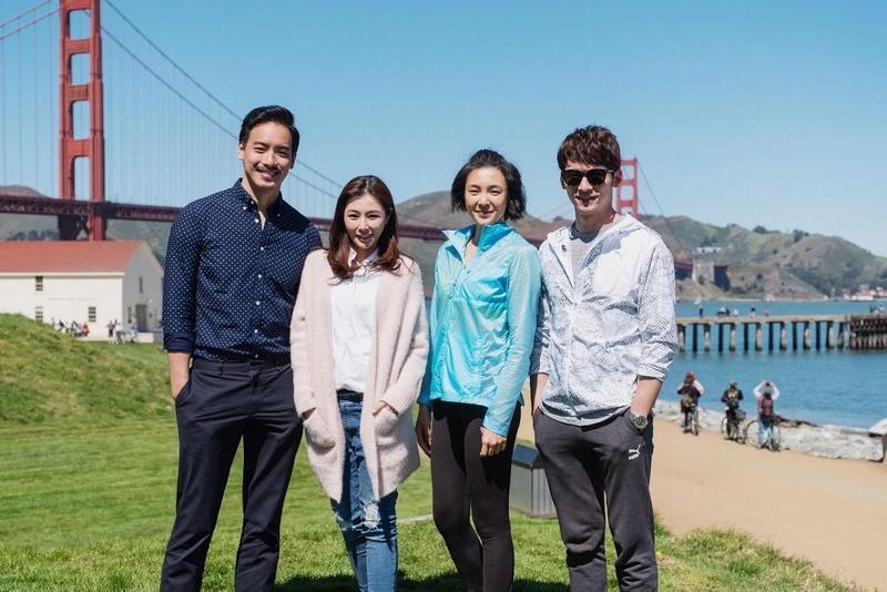 溫昇豪(右起)曾珮瑜、陳怡蓉、黃柏鈞為《雙城故事》赴舊金山,感受難得的工作經驗。(青睞提供)