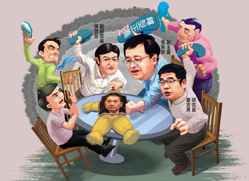 促轉會副主委張天欽跳過主委黃煌雄及委員會議,召集幕僚討論如何打侯。