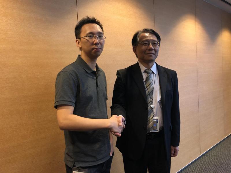 對岸AI獨角獸企業曠視技術長唐文斌(圖左)訪台。