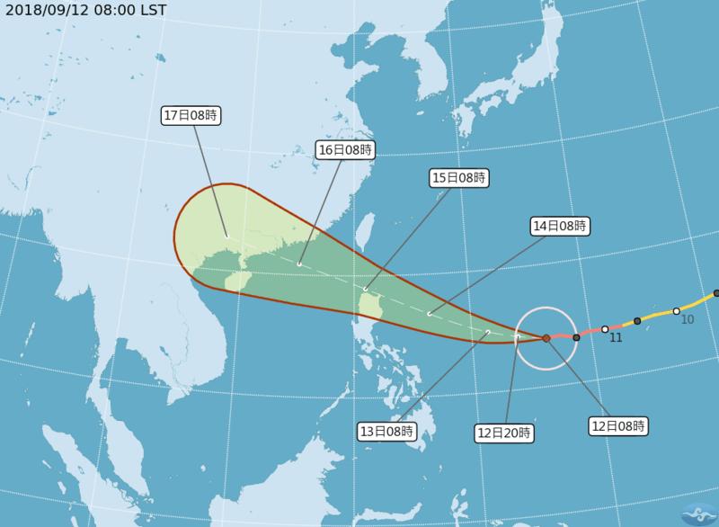 強颱山竹路徑南移,有機會從台灣南部擦邊過。(翻攝自中央氣象局)