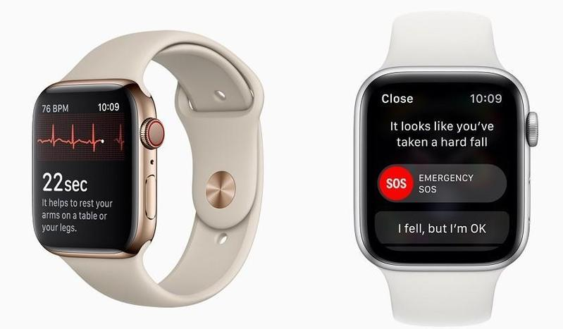 除了3款新iPhone外,Apple Watch 4也正式亮相,效能、螢幕都升級,還支援測量心電圖(左)及跌倒偵測(右)等功能。
