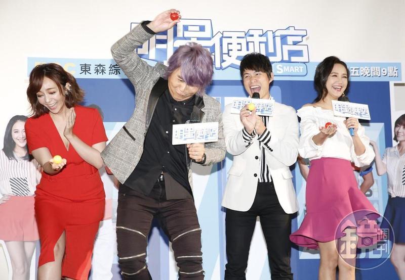 東森全新節目《明星便利店》,由季芹(左起)、王仁甫、孫協志和何妤玟4人共同主持。