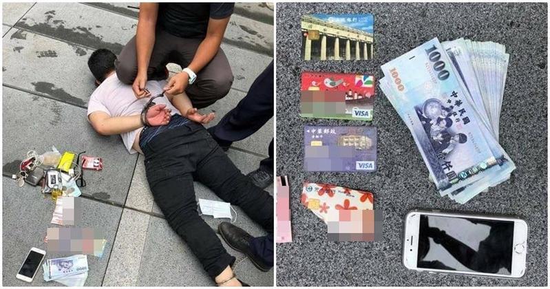 蔡姓車手被警方當街制伏逮捕,並起出多張金融卡及贓款。。(警方提供)