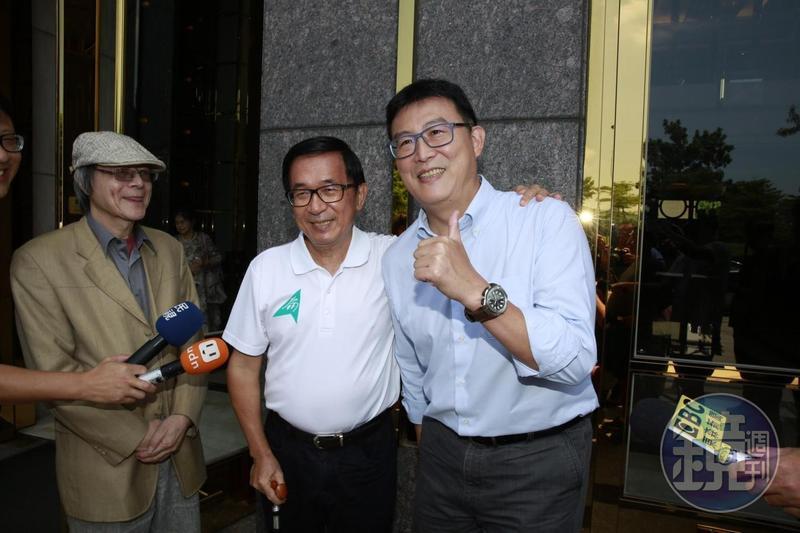 民進黨台北市長參選人姚文智今南下高雄拜會前總統陳水扁,且陳水扁允諾擔任他的選舉及市政最高顧問。