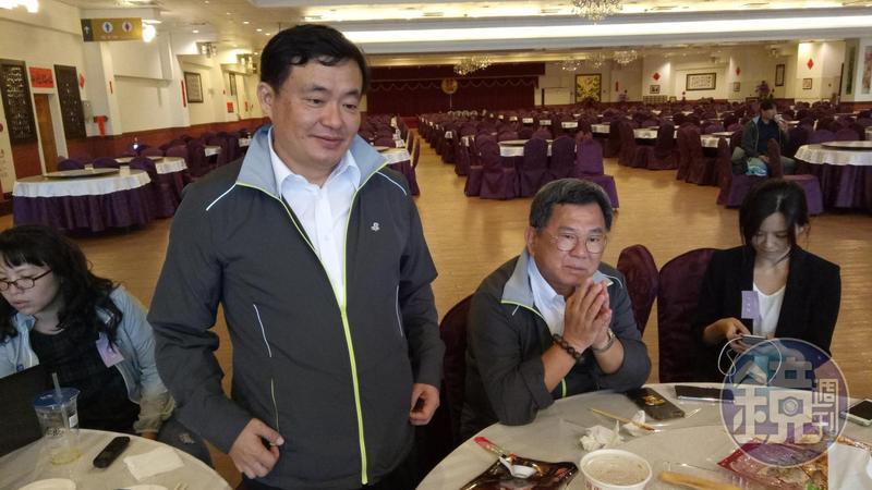 民進黨祕書長洪耀福、選對會召集人陳明文與媒體茶敘。