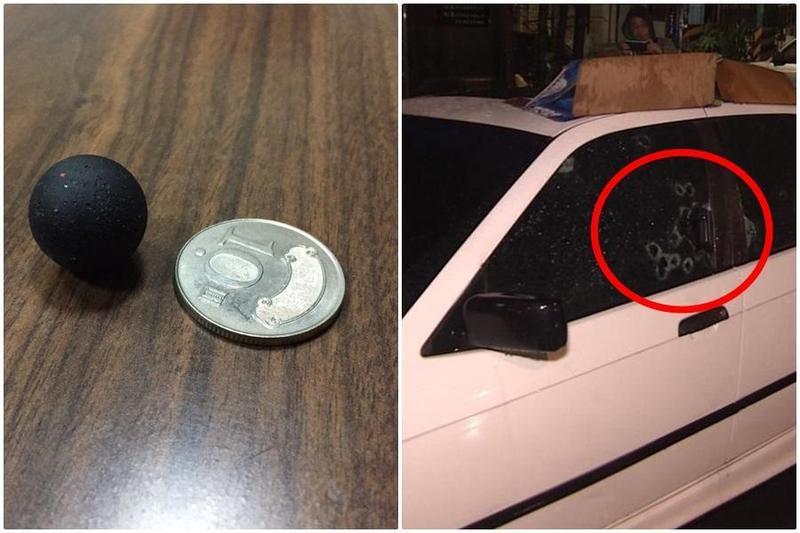 黃姓男子的轎車,遭十餘枚塑膠鎮暴槍子彈射破車窗。(翻攝畫面)