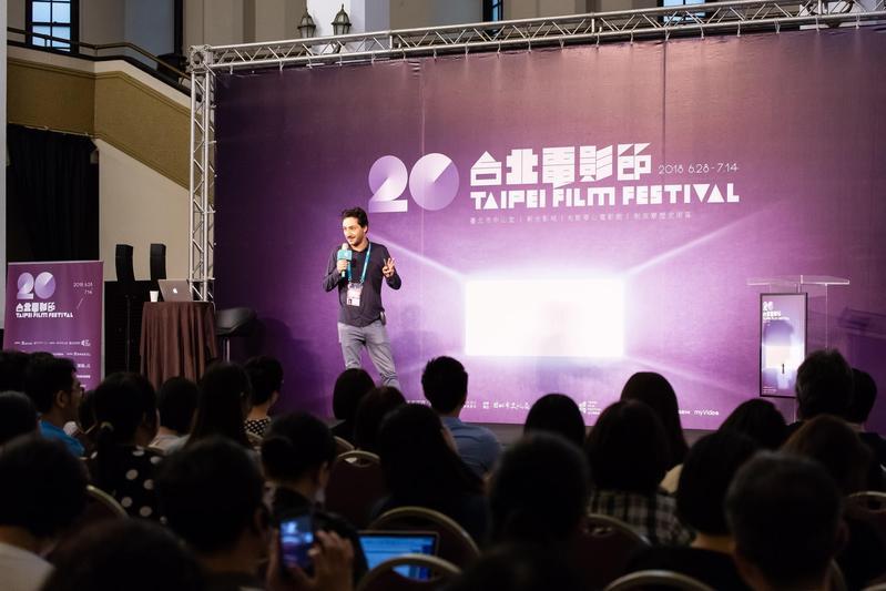 法國製片安端凱霍應台北電影節之邀來台舉辦講座分享製作VR的經驗。(台北電影節提供)