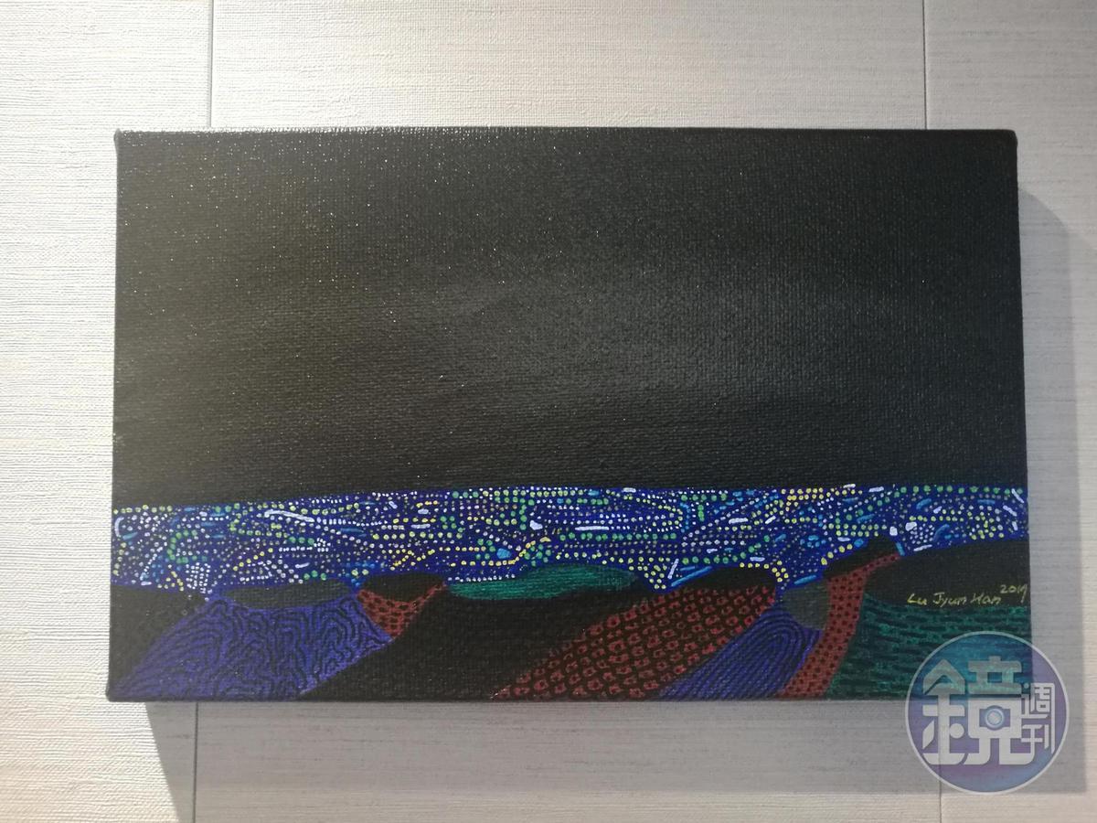 盧俊翰將看到的宜蘭夜景,創作出「蘭陽平原夜景一角」。