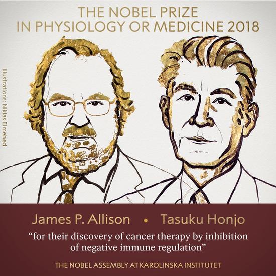 諾貝爾生理或醫學獎得主,美國的詹姆士艾利森與日本的本庶佑。(網路截圖,nobelprize.org)