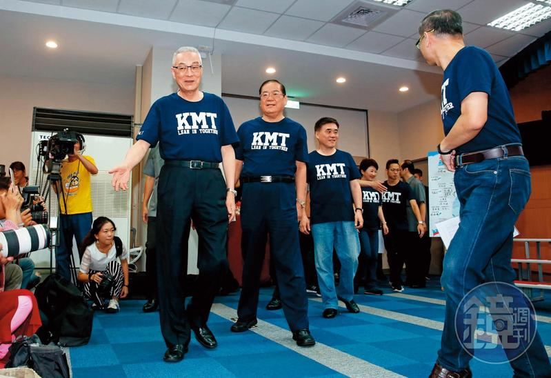 張善政全台輔選,與志在2020大位的黨主席吳敦義(左)互別苗頭。