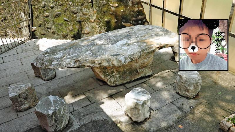 林姓少年不堪暴打而慘死廟旁,在石桌下曝屍數小時才被發現。