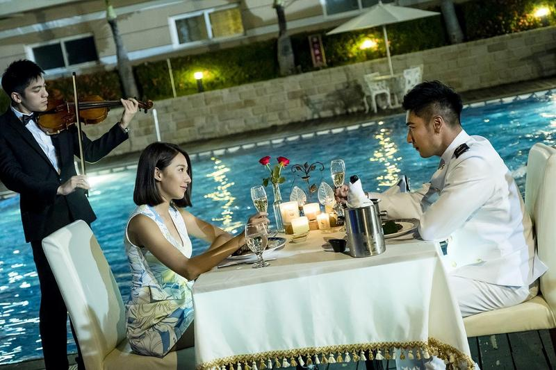 楊晴與羅平共進浪漫燭光晚餐。(TVBS提供)