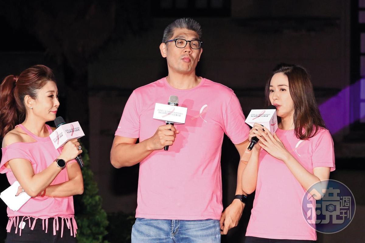雖然台下恩愛,蔡依珊(右)在致詞時,連勝文感覺心神不寧,流露出微微的不爽霸氣。