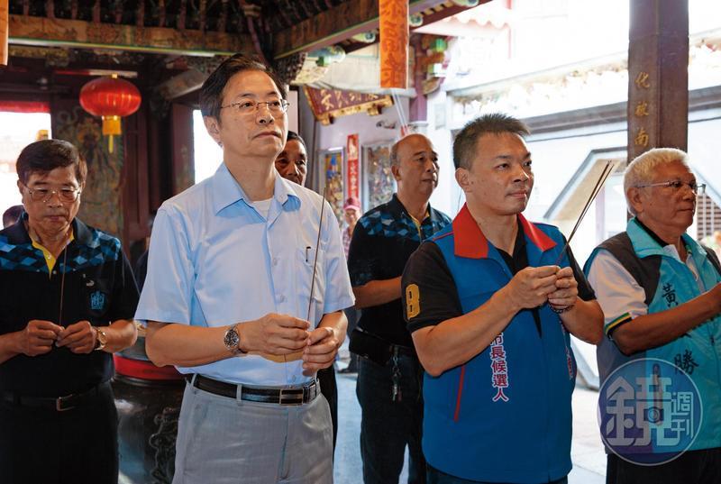 前行政院長張善政(前排左)全國跑透透輔選,日前替國民黨台南市長參選人高思博(前排右)站台,黨內評估張下一步就是搶攻2020。