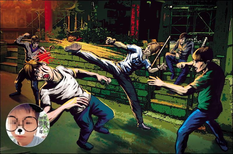 4名惡煞將林姓少年團團圍住,猛踹狠打超過40分鐘,竟將被害人活活打死。