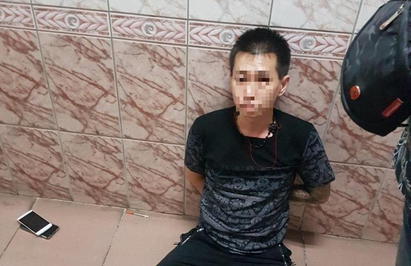 天道盟「太陽會」臺北分會綽號「porsche」的林男遭逮,竟是因毒癮發作才狼狽落網。(警方提供)