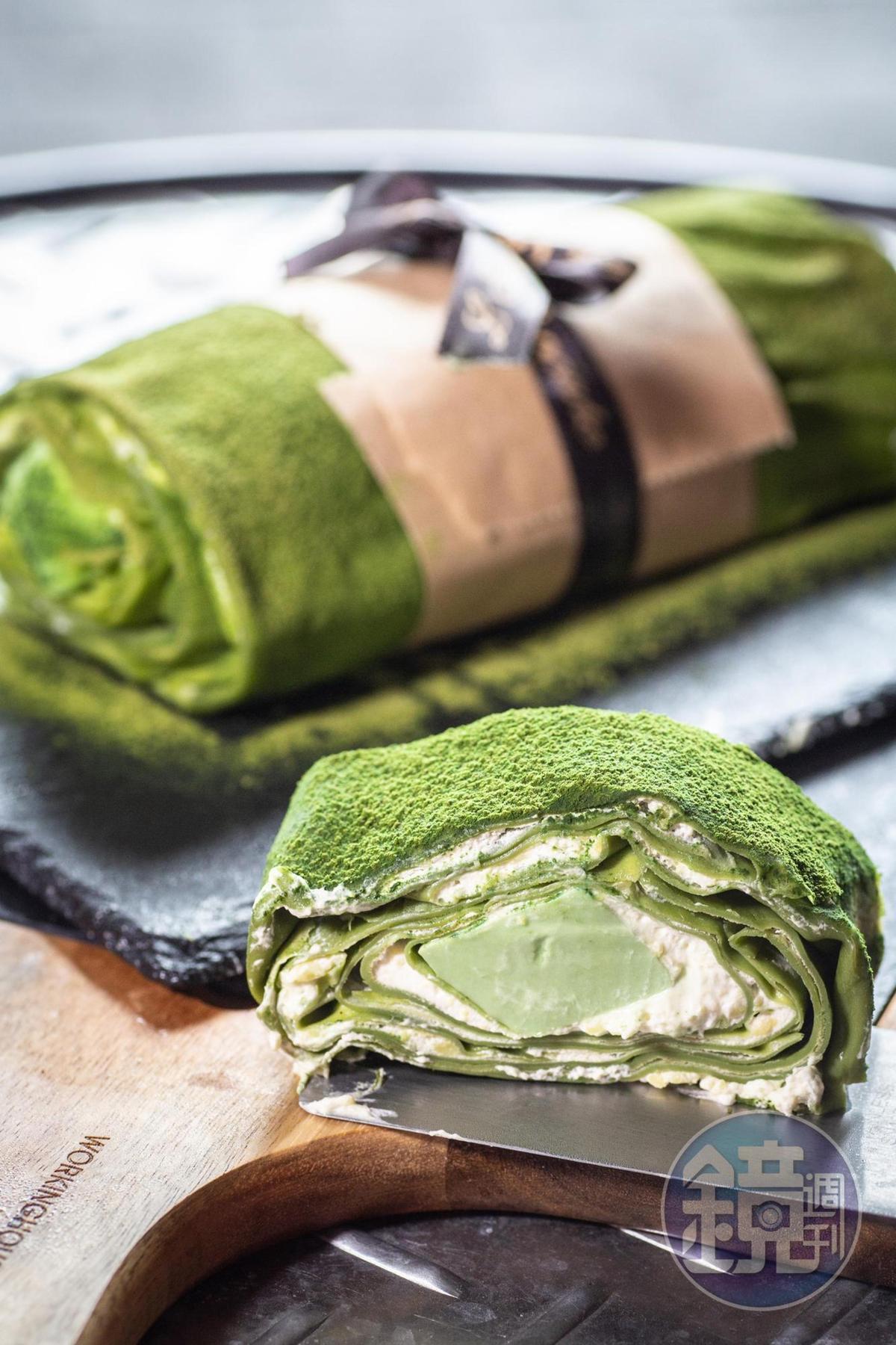 這一款千層抹茶毛巾捲蛋糕,有個風趣的名字「我是崔苔菁」。(70元/片)