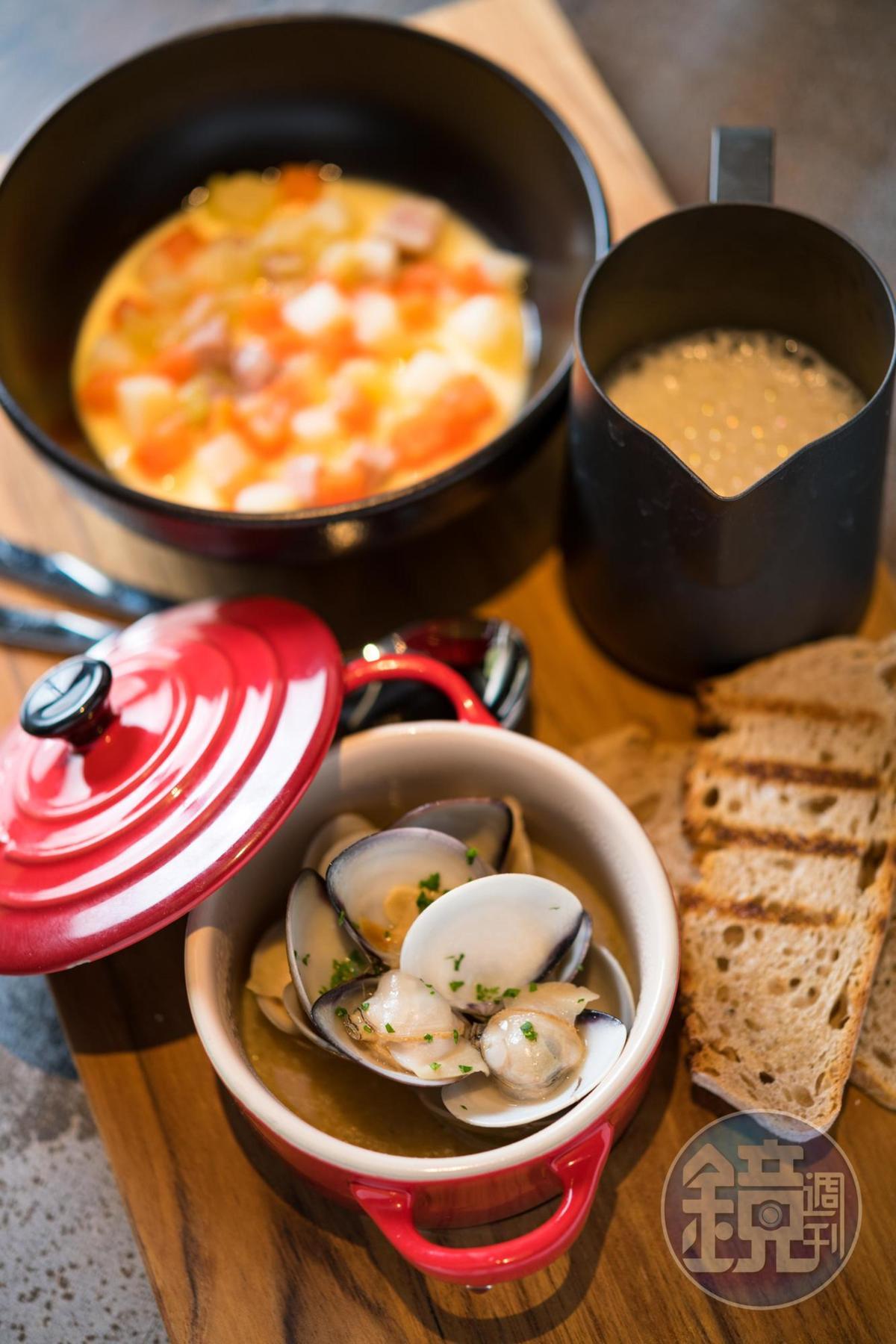 「蛤蜊濃湯泡泡 / 蒸蛋 / 炭烤麵包」是經典巧達濃湯的變奏版。(290元/份)
