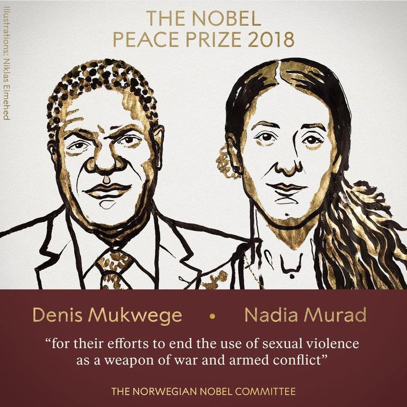 剛果醫師穆克威哲與庫德少數族裔亞茲迪族的穆拉德同獲2018年諾貝爾和平獎。