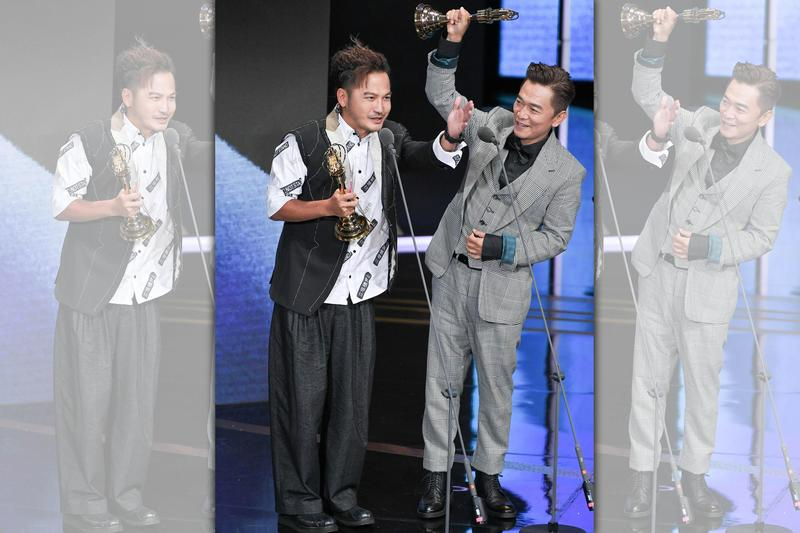 吳宗憲(右)與KID得獎時的收視率是整個電視金鐘獎頒獎典禮的最高點。(三立提供)