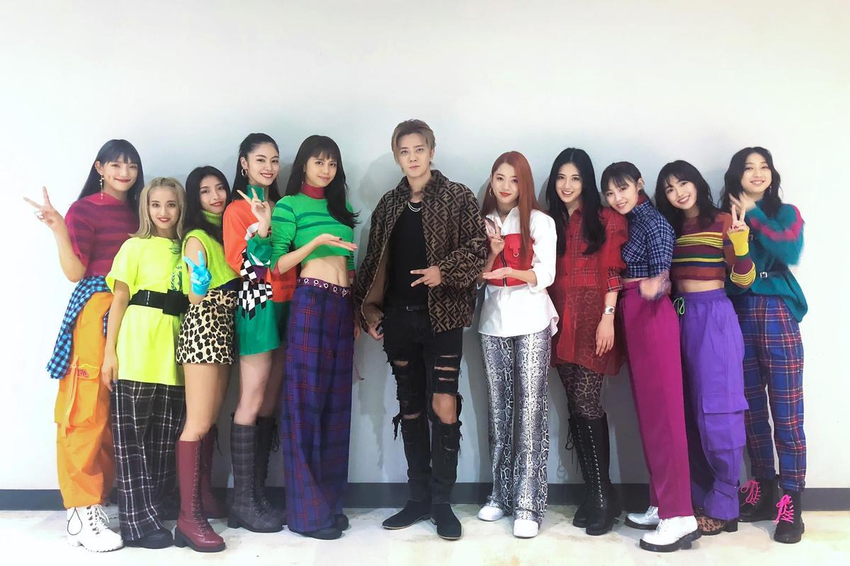 羅志祥跟日本女團E-girls在韓國相見歡。(創造力娛樂提供)