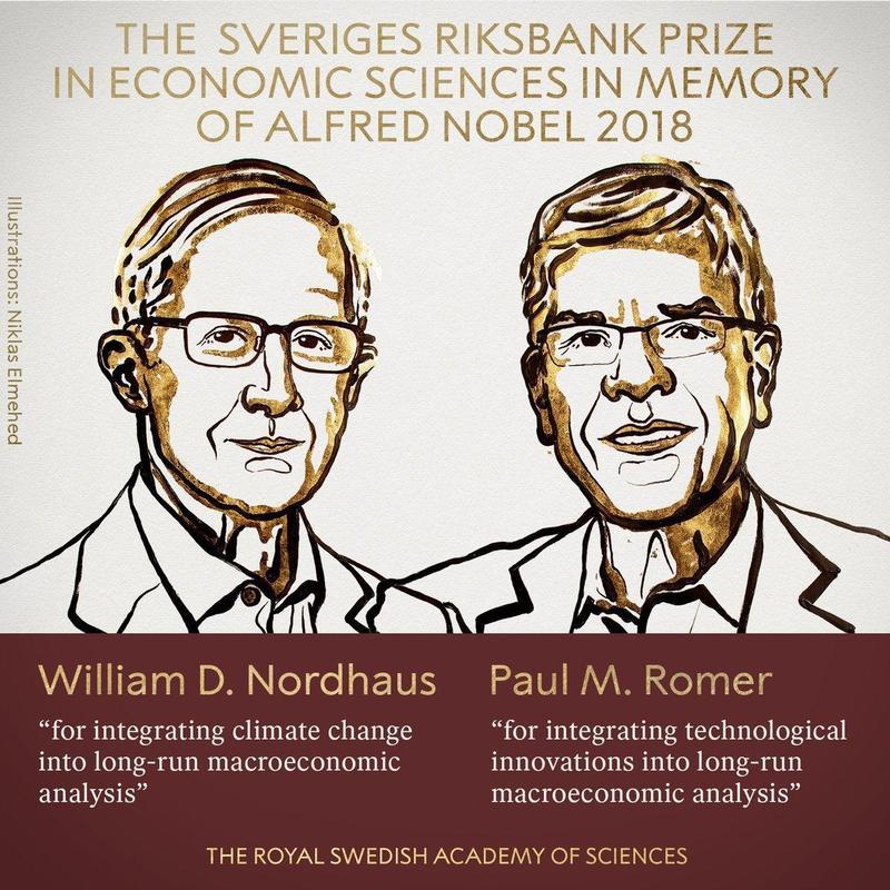2018年諾貝爾經濟學獎於周一(10/8)下午公布。