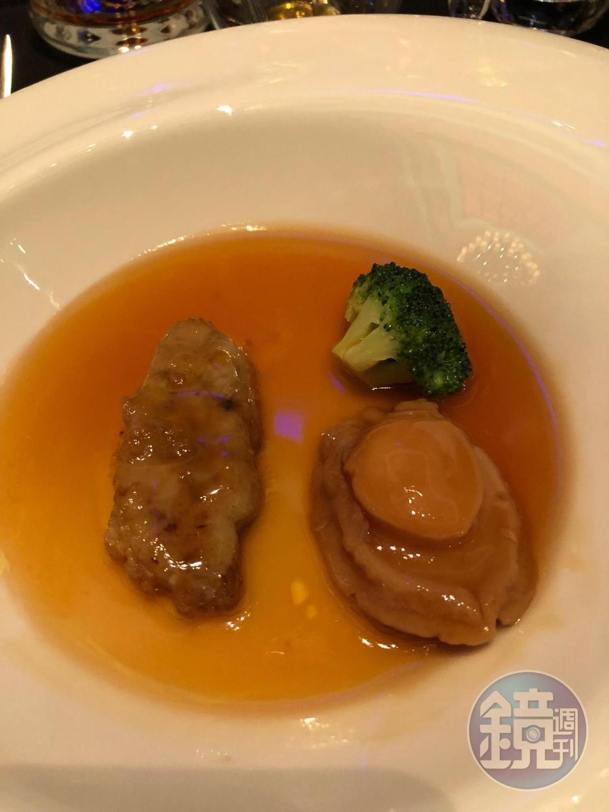 溏心的鮑魚是粵廚的拿手好戲,帶有餘韻的滋味和清爽的百樂廷皇禧干邑搭配正好。