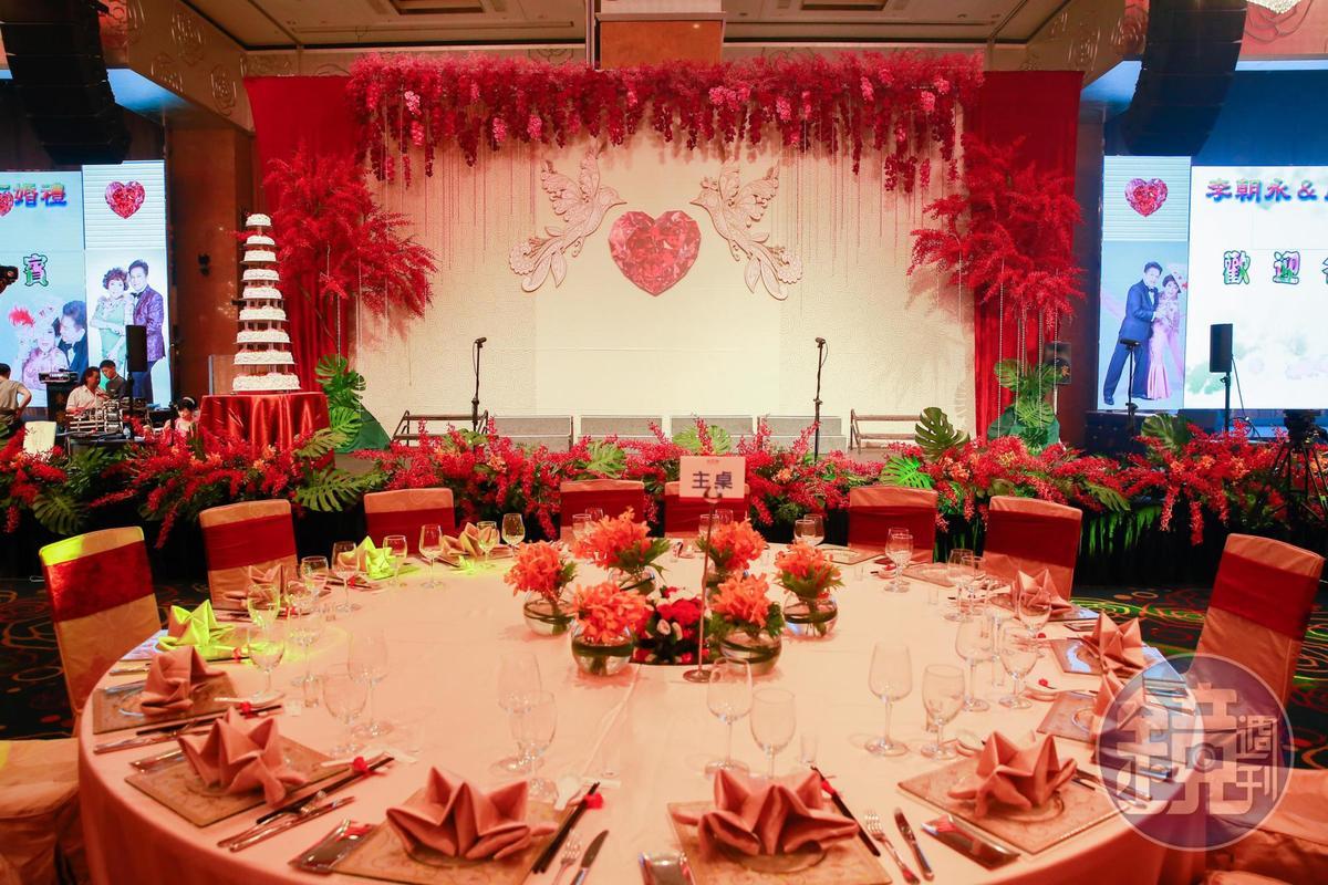 阿姑、李朝永的婚宴席開百桌,1桌約2萬。