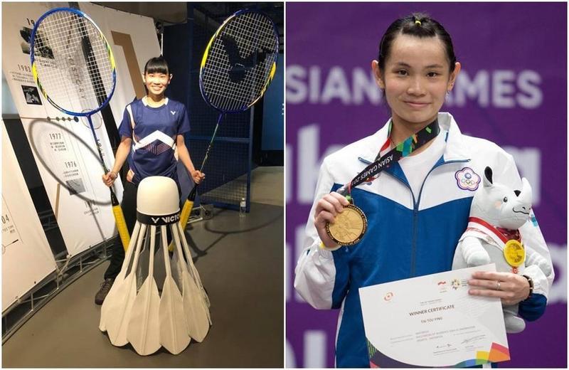 台灣羽球品牌VICTOR勝利50週年特展,戴資穎提供19面大賽金牌、冠軍盃,自己也興奮和放大版羽球合照。(翻攝戴資穎粉絲專頁)