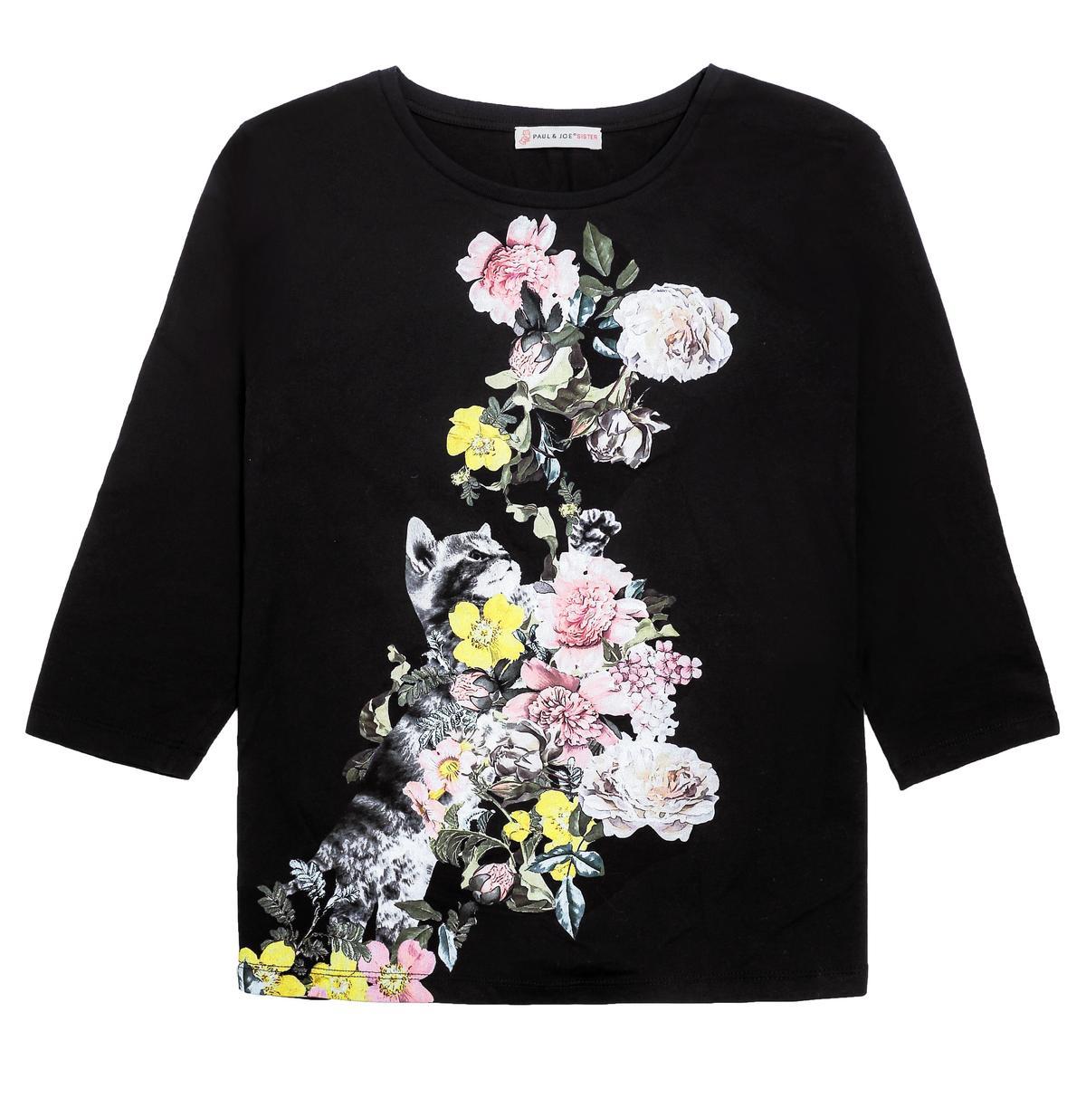 PAUL&JOE SISTER台灣獨家系列印花黑色T恤,NT$5,800。