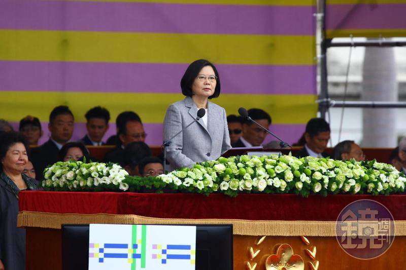 總統蔡英文今在國慶大會發表演說。