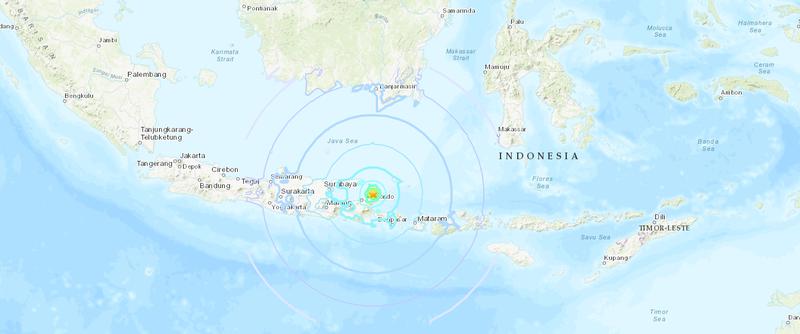 印尼峇里島又發生芮氏規模6.0地震,釀成3位民眾死亡。(圖取至美國地質研究所USGS)