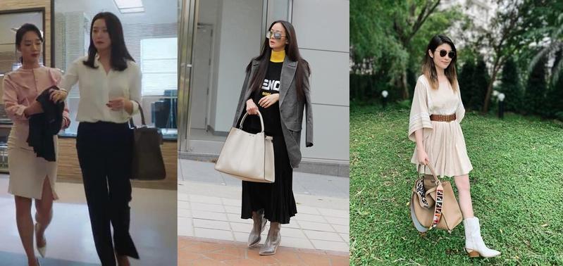 (左起)金喜善、孫芸芸、陳慧琳都拎著今年7月才推出的Peekaboo X-Lite包款,各自演繹不同風情。(愛奇藝台灣站、FENDI提供)