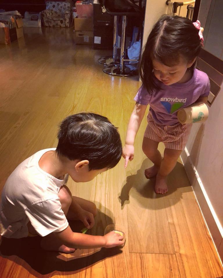 隋棠附上兒子帥氣捧著「寵物盒」的模樣,當中也穿插了多張照顧菜蟲的萌照。(翻攝自隋棠臉書)