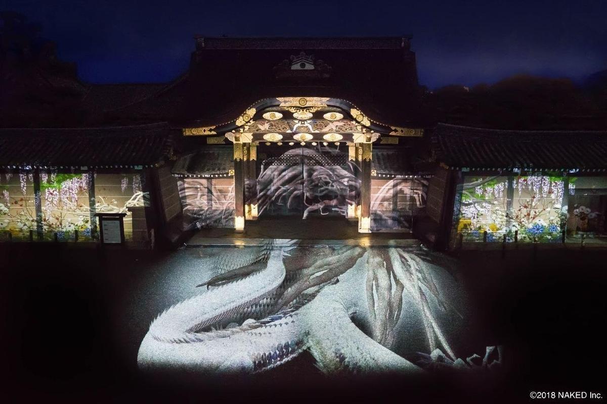 京都市長邀請NAKED在世界遺產二条城進行創作,圖為二条城2018─櫻之宴。(NAKED Inc.提供)