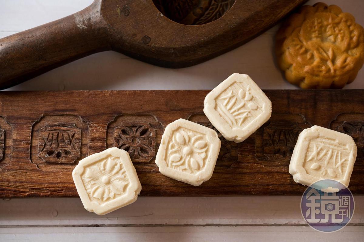 店內也看得到保留古風的「杏仁糕」等傳統小餅。(8元/顆)