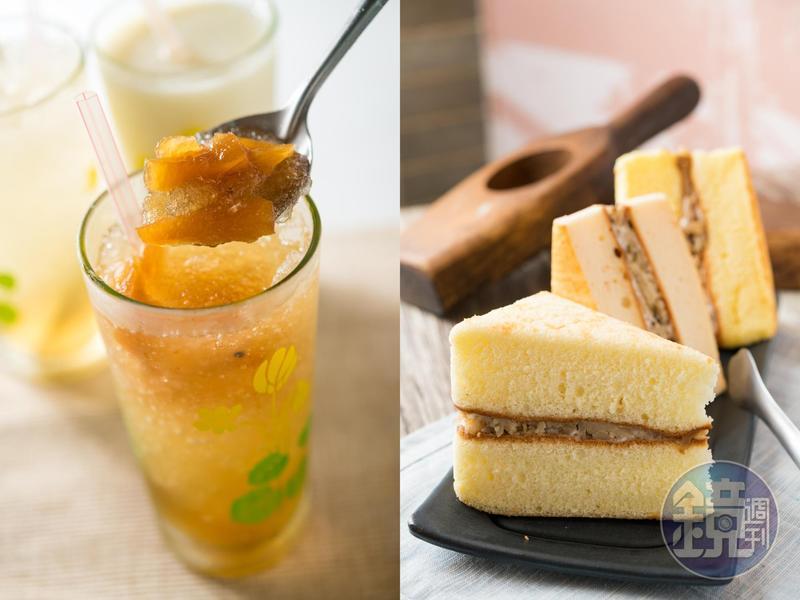 手熬的古早味「鳳梨冰」,碰上夾入清爽筍丁的「鹹蛋糕」,就是一套甜蜜質樸的豐原式下午茶。