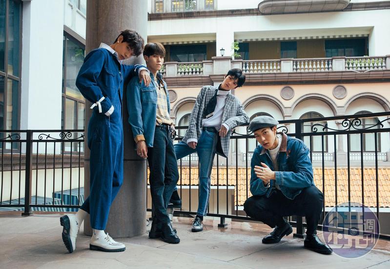 「坤音四子」組成ONER,木子洋(左起)、岳岳、靈超及卜凡,經過2年訓練,日前正式出道,推出首張專輯《過敏》。