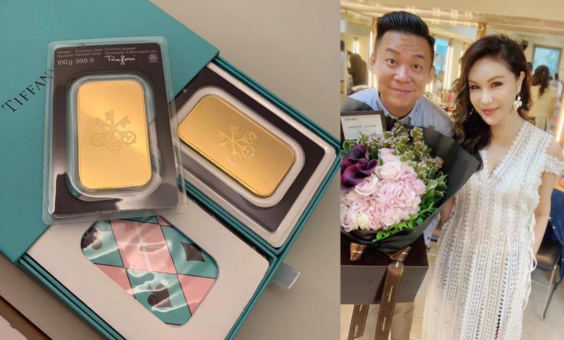 利菁的老公送給她的生日禮物竟然是金子兩塊,雖然生日要錄影一整天,一早就收到花束,讓她很開心,左為製作人孫樂欣。(利菁提供)